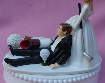 Wedding Cake Topper Golf Fan Golfing Groom Golfer Shoes Ball Club Sports Themed w/ Bridal Garter Bride Dragging Pulling Humorous Funny Top