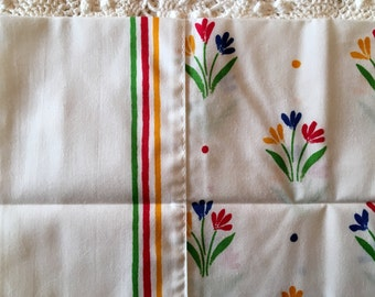 Complete Twin Set - Wamsutta Percale Bouquets Twin Sheet Set - Complete Bedding Set - NIP NOS Twin - Primary Colors 1970s -No