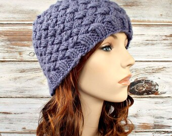 Instant Download Knitting Pattern - Knit Hat Knitting Pattern - Knit Hat Pattern - Harlow Basket Weave Beanie Pattern - Womens Hat