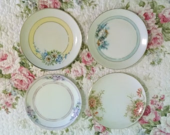 Set of 4 Vintage, mismatched, hand painted bread and butter plates for Weddings, luncheons, showers