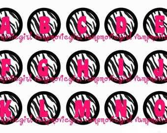 INSTANT DOWNLOAD...Hot Pink Zebra Alphabet 1 Inch Circle Image Collage for Bottle Caps...Buy 3 get 1
