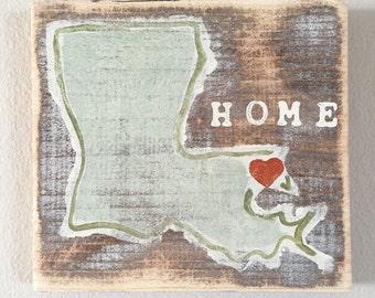 Louisiana Heart (Northshore): Wood Sign, Louisiana Art, Louisiana Gift, Northshore Art, NOLA Art, Home Art, Southern Art