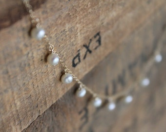 Bridal Dainty Dew Drop Seed Pearl Necklace on Gold Filled Chain - Perfectly Pemberley - Delicate Feminine Classic