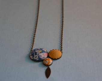 liberty fabric vintage mustard yellow and blue necklace