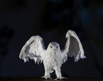 Owl Art Decor, Paper Mache Figurine, Student Gift, Paper Owl Ornament, Miniature Figurines, Bookshelf Decor, Rustic Desk Decor