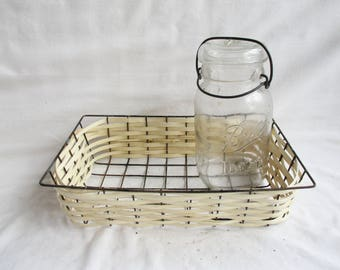 Vintage Re Weave Rustic Wire Basket Redesign Home and Living Basket Utility Storage Display Vintage Home and Living Home Decor Kitchen Decor