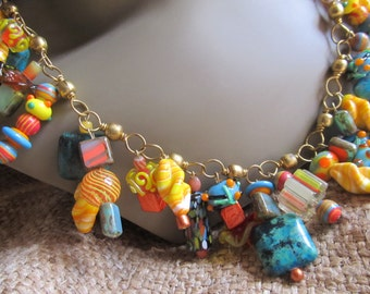HANDMADE Festive Orange, Yellow & Aqua, Lampwork Beaded Necklace By Susan Every OOAK, Ships Worldwide