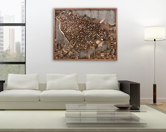 """Vancouver cityscape wood wall art, made of old reclaimed barn wood. 44.5"""" x 36.5"""" x 4"""" Large wall art, Large art, wood wall sculpture"""