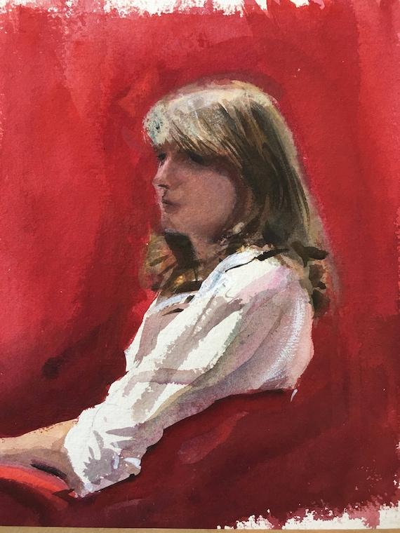 Modern British watercolour by Howard J. Morgan (b.1949) 'Janet' circa 1980's