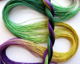 "Size 80 ""Mardi Gras"" hand dyed tatting thread 6 cord cordonnet crochet cotton"
