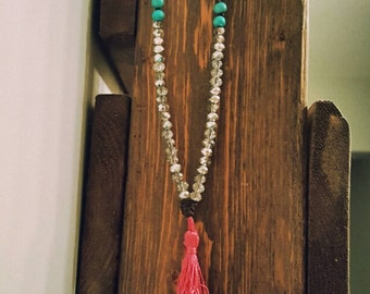 Long wood bead tassel necklace