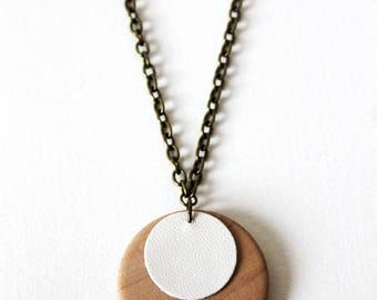 Necklace leather minimalist white wood