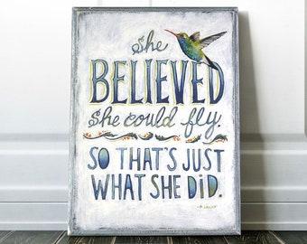 Hummingbird Art, Inspirational Art, Inspiration Gift, Gift for Her, Gift for Niece, Bird Nursery Decor, Graduation gift, Gift for Daughter,