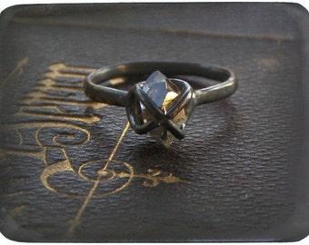 Handmade Engagement Ring Herkimer Diamond, Sterling Silver. My Beloved oxidized dark rustic wedding organic. non-conflict HANDMaDE