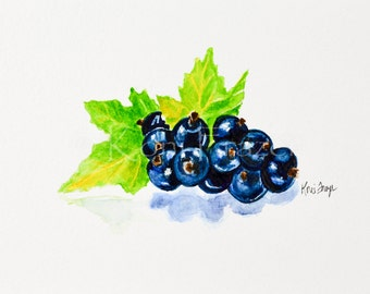 Very berry black currant, original watercolor painting 5x7, ready to frame