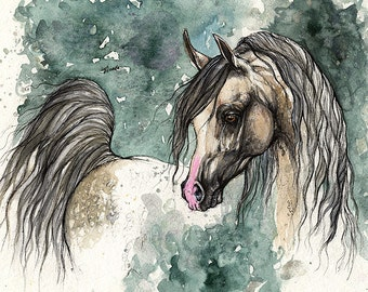 Grey arabian horse, equine art, horse portrait, equestrian,  original ink and watercolor painting