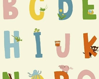 Alphabet in White - Kinder by Heather Ross - quilting cotton fabric - half yard or more