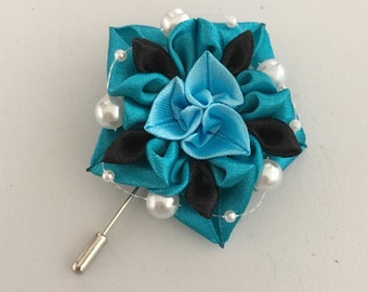 Blue and Black Kanzashi Flower Lapel Pin Men and Women.2