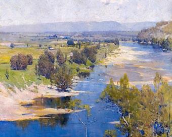 Arthur Streeton, Purple Noon's Transparent Might 1896, HD Canvas Print or Art Print, Vintage Artwork Wall Poster Australian Impressionism