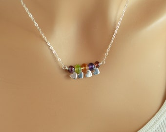 Birthstone Family Necklace, Sterling Silver, Real Gemstones, Mother's Day, Custom, Hearts, Personalized Jewelry for Mom