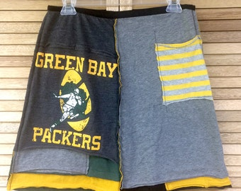 Green Bay Packer skirt, Upcycled clothing for women by The Upcycled Closet, football, Green Bay Packer clothing, upcycled recycled repurpose