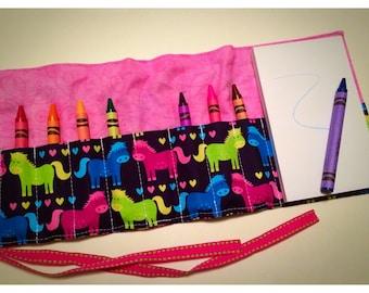Crayon Roll Up - Crayon Holder - Crayon Organizer with Pad & Crayons - Ponies