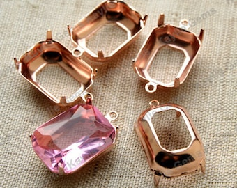 18x13 Octagon Prong Setting Rose Gold Plated Open Back 1 Ring or 2 Ring