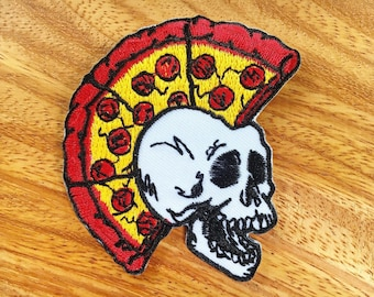 New Skull Mohawk Punk Rock Pizza Biker Embroidered Applique Iron on Patch