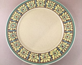 """Vintage 13"""" Chop Plate (Round Platter) Palm Spring by MIKASA/Yellow Sand Background Yellow Green Flowers Mikasa Round Platter/ Mikasa Japan"""