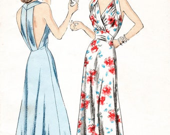 1940s 40s t strap gown evening length dress or negligee vintage sewing pattern PICK YOUR SIZE Bust 32 34 36 38 reproduction