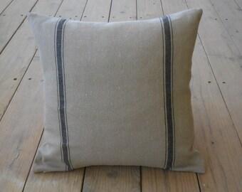 French Grain Sack  Pillow, Tan black stripes, Farmhouse Pillows,  Shabby Chic Decor 60, INSERT INCLUDED