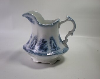 Vintage Brussels W.H. Grindley Blue Transferware Pitcher Blue and White Pottery
