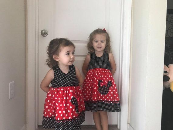 Disney Minnie Mouse Dress, Disney Vacation, Bow Dress, Disney Birthday Dress, Disney World, Red Minnie, Toddler dress, Baby dress