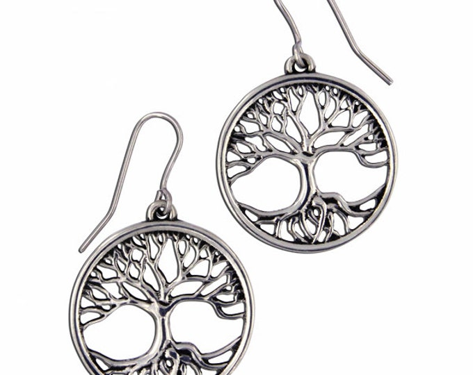 Tree of life drop earrings small  - Hand Made in UK