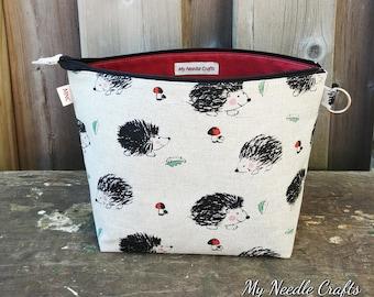 Sock Knitting Project Bag in Hedgehog Print Linen, Zippered Wedge Bag, Knitting Bag, 1-2 skein size