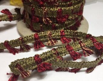 Red Mini Tassel Trim - Variegated Red Tassel Designer Trim - Designer Braid with Mini Tassels - Designer Tassel Trim - 4 yards