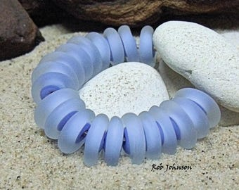 Etched Periwinkle, Artisan Lampwork Glass Beads