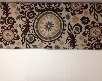 Lined shaped valance, 42W x 18H suzani, brown beige olive,