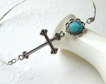 Cross Bangle, Caribbean Blue, Christian Icon, Gothic Silver Cross, Stacking Bracelet, Small Petite, Stained Glass