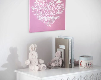 Personalised Girls Heart Canvas Print