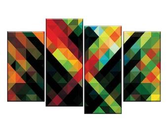 Geometric coloured pattern split canvas wall art picture print