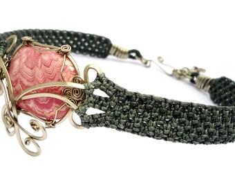 Pink Macrame Choker, Bridesmaid Necklace, Boho Choker, Gemstone Choker, String Choker, Boho Necklace, Bridesmaid Gift, Bohemian Jewelry