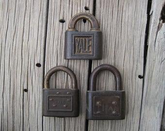 Vintage Padlock Collection, Yale Padlocks, Titan Padlock, Antique Padlocks Collection, Rustic Deco, Steampunk, Rustic Country Wedding Decor