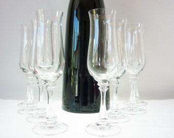 American Stemware Crystal Champagne Glasses Princeton Pattern (8)