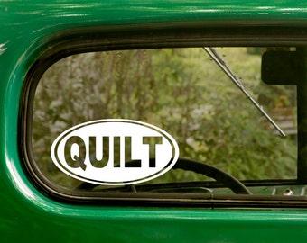 Oval Quilt Decal, Car Decal, Quilt Sticker, Quilting Sticker, Euro Decal, Laptop Sticker, Oval Sticker, Bumper, Vinyl Decal, Car Sticker