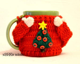 Sweater mug cosy - Crochet Pattern (No. 015), Set of 5 cozy patterns, coffee cozy, crochet cozy pattern,  crochet mug cozy pattern, PDF cozy