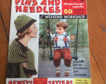 Knitters Australian Pins and Needles 1961 fifty complete patterns. Unusual London knitting book.