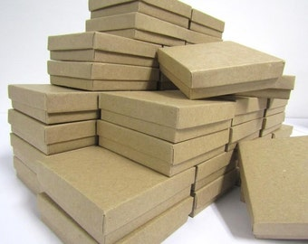 100 Pack Kraft Boxes (3.5 x 3.5 x 1 in) // ECONOMY SIZE //