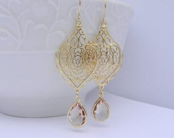 Peach Earrings - Gold Earrings - Bridesmaid Gift - Bridesmaid Jewelry - Bridesmaid Earrings - Champagne Bridesmaid Earrings - Gift Idea