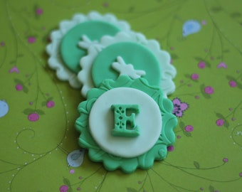 Whimsical Dragonfly Initial Fondant Toppers - Perfect for Cupcakes, Cookies and Other Edible Creations